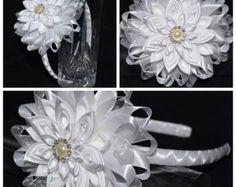 Diadema/Clip Kanzashi bautizo/boda/escuela de por PrettyBlossomBows