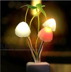 We all love LED. There is nothing but good news about LED. You can choose warmer colors of light instead of the harsh, too-white light from older LEDs. Unique Night Lights, Led Night Light, Romantic Lights, Light Led, Lampe Led, Led Lamp, Led 220v, Mushroom Lights, Dream Night