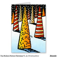 Fun Modern Pattern Christmas Trees, Snow and Stars Greeting Card by Paul Stickland for #ChristmasStore