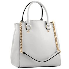 MG Collection Kendra White Classic Structured Office Tote Handbag / Shoulder Bag