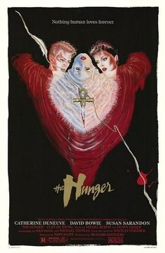 The Hunger- Film from the featuring David Bowie, Susan Sarandon and Catherine Deneuve. Catherine wears an extensive amount of YSL throughout the movie She plays a bisexual vampire seducing Susan Sarandon since her lover David Bowie begins to rapidly age. Susan Sarandon, Catherine Deneuve, David Bowie, Horror Movie Posters, Horror Movies, Horror Art, Gothic Movies, Horror Fiction, 80s Movies