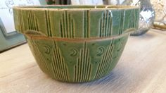 Watt Pottery Green Moon and Stars - Green Glazed - Yellow ware - Vintage 1910's - Primitive Rustic - Mixing Bowl