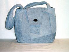 Upcycled Denim Crazy Quilt, Blue Jean Handbag or Purse, Repurposed Fabric Bag