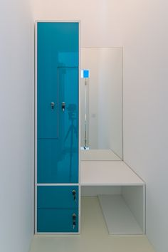 changing room from glossy blue MDF, melaminated PAL bench orders/price offers at: office Changing Room, Architecture Office, Lockers, Cabinet, Mirror, Interior Design, Space, Bathroom, Storage