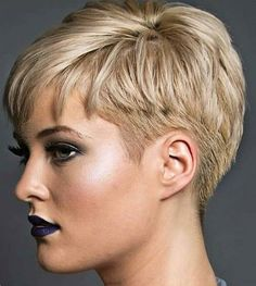 Short Hair Trends and Ideas Trend Image Description Great hair and lipst … Short Pixie Haircuts, Pixie Hairstyles, Blonde Haircuts, Short Pixie Cuts, Glasses Hairstyles, Edgy Pixie, Asymmetrical Pixie, Haircut Short, Hairstyle Short