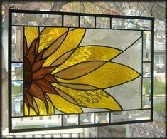 Abstract Sunflower Stained Glass Window
