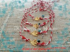 March bracelets our traditional accessory to avoid sunburn! Metal Bracelets, Bracelets For Men, Fashion Bracelets, Beaded Bracelets, Swallow, Red White Blue, Evil Eye, Silver Charms, Women Accessories