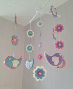 Baby Crib Mobile - Cot Mobile - Baby Mobile - Birds anf Flowers - Nursery decor - Girls Decor by EllaandBoo on Etsy https://www.etsy.com/listing/201421817/baby-crib-mobile-cot-mobile-baby-mobile