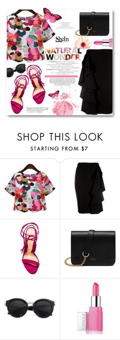 """""""Win Floral Blouse With SheIn - Contest Entry"""" by alexandrazeres ❤ liked on Polyvore featuring Moschino, Schutz, Mulberry, Clinique, H&M, Topshop, entry, contest, Sheinside and floralblouse"""