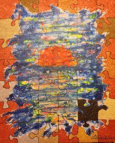 Puzzle - Acrilico su tela di Juta - 60x76