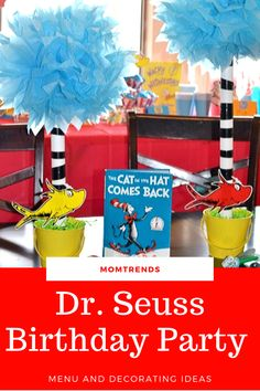 We have a few fun, creative, and inspiring DIY ideas to help you create your own Dr. Seuss party in honor of Dr. Birthday Party Menu, Birthday Fun, Birthday Wishes, Birthday Ideas, Dr Seuss Party Ideas, Birthday Highchair, 1st Birthday Decorations, Baby First Birthday, Party Entertainment