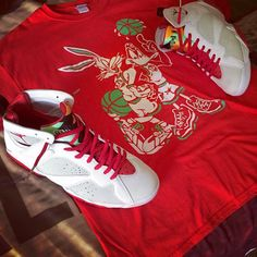 """Laced Up Laces   Air Jordan 7 """"Hare""""   Premium Red Wax lace swap By. @_da_freshprince   Cop the red wax or white wax to compliment this Jordan at www.laceduplaces.com while they last!"""