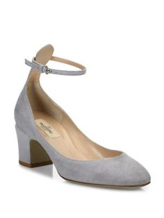 VALENTINO Tango Suede Ankle-Strap Pumps. #valentino #shoes #pumps