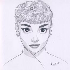 My drawing of Audrey Hepburn. Cartoon style. Pencils and white paper. facebook.com/lukasiakaleksandra/