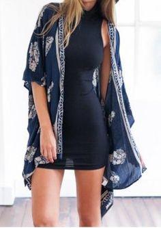 Fashionable Floral Print 3/4 Sleeve Kimono Cardigan For Women