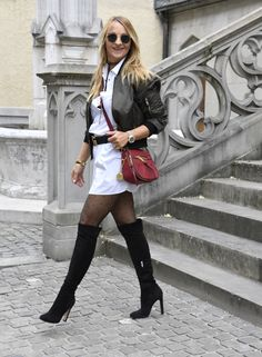 my choice, fashion Knee High Boots Outfit Party, Over The Knee Boot Outfit, High Leather Boots, High Heel Boots, Heeled Boots, Gucci Princetown, High Heel Stiefel, Celebrity Boots, Black Leather Pencil Skirt
