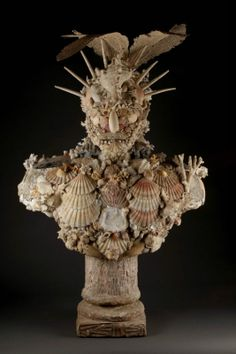 Bust of Neptune made of corals and shells, attributed to Janine Janet, Paris, ca. 1950, 110 cm high
