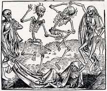 The Danse Macabre consists of the dead or personified Death summoning representatives from all walks of life to dance along to the grave, typically with a pope, emperor, king, child, and labourer. They were produced to remind people of the fragility of their lives and how vain were the glories of earthly life