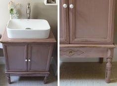 For before & after of vanity cabinet, as well as a reminder to keep my eyes peeled for makeover projects! || romantic bathroom re-do (before and after)