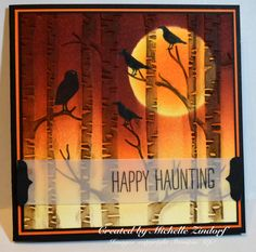 features Stampin Up's Among the Branches stamp set and the Woodland textured impressions embossing folder; Halloween 2015