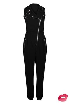 Black Asymmetric Zip Detail Jumpsuit Preview