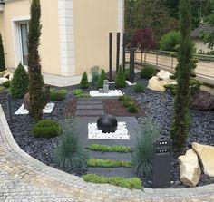 Image associée Front Door Landscaping, Front Yard Patio, Garden Landscaping, Garden Pond, Front Gardens, Landscape Services, Garden Landscape Design, Backyard Projects, Dream Garden