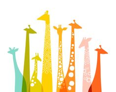Americanflat The Paper Nut Giraffes Graphic Art on Canvas Size: H x W, Frame Color: No Frame, Format: Poster Frames On Wall, Framed Wall Art, Paper Frames, Wooden Frames, Giraffe Silhouette, Giraffe Art, Stretched Canvas Prints, Fine Art Paper, Painting Prints