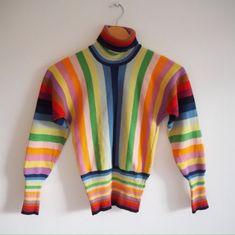 UK-4-6-8-Petite-Vintage-1970s-Rainbow-Stripe-Sweater-Jumper-Top-Kawaii-Gay-Pride