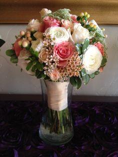 Coral wedding bouquet.