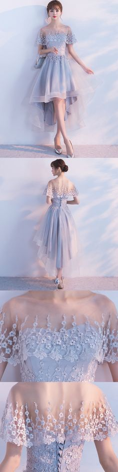 A-line Illusion High-Low Tulle Lace Homecoming Dresses ASD26953 #homecomingdresses #a-line #shorts #lace #style