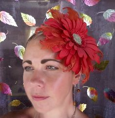 Items similar to Red Flower Fascinator on Etsy Red Flowers, Fascinator, My Etsy Shop, Crown, Outfit, Check, Jewelry, Outfits, Headdress