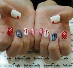 Sailor nails with anchor blue white red heart nails