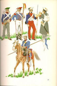 Spain; Carlists; Top L to R Portugese Volunteer, Lancer Zumarra, Osma InfantryBattalion & Musician. Bottom  Lancer Amurrio Warfare, Marines, 19th Century, Empire, Army, Military, Illustration, Sailors, Fictional Characters