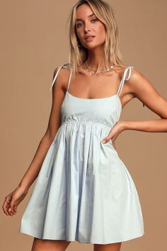 Date proposals will be pouring in nonstop when you're in the Lulus Tied Down Light Blue Tie-Strap Mini Dress! Cotton poplin skater dress with a tying back. Cute Blue Dresses, Casual Summer Dresses, Modest Dresses, Short Dresses, Mini Dresses, Blue Dress Outfits, Smocked Dresses, Blue Dress Casual, Wrap Dresses