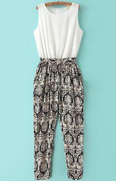 White Black Sleeveless Vintage Floral Chiffon Jumpsuit 8.99