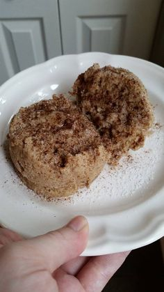Coffee Cake in a Mug Trim Healthy Mama Breakfast, Dessert, Snack- Coffee cake in a Mug! SO moist! 1 TBLS of butter softened 1 1/2 tsp of sweet blend one egg beaten 2 TBLS of sour cream or Greek yogurt 1 1/4 TBLS coconut flour 1/8 tsp of baking powder Capful of Vanilla 1/4 tsp of cinnamon Microwave 1 minute. OR Bake for 10 minutes @350 degrees. Top with cream cheese, Greek yogurt or more cinnamon and sugar!