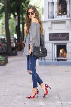 This off the shoulder camisole looks cute and casual with jeans and tartan heels. Via Arielle Nachami. Shoes: Manolo Blahnik, Jeans: J BRAND, Top: Tibi, Bag: Valentino.