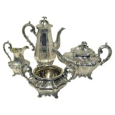 Shop coffee and tea sets and other modern and antique silver from the world's best dealers. Vintage Silver, Antique Silver, Vintage Tea Kettle, Coffee Service, Tea Sets, Decorative Bells, Vintage Antiques, Nostalgia, Copper