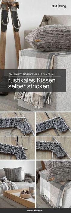 p/diy-strickkissen-im-rustikalen-alpenchic-mxliving - The world's most private search engine Knitting Needles, Free Knitting, Baby Knitting, Knitting Patterns, Crochet Patterns, Blanket Patterns, Amigurumi Patterns, Rustic Pillows, Diy Pillows