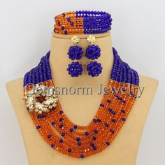 Nigerian African Party Beads Necklace Jewelry Set GS039