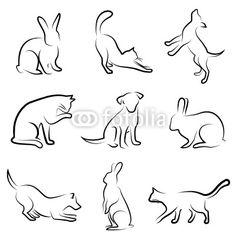 c�o, gato, coelho, desenho vetorial animais