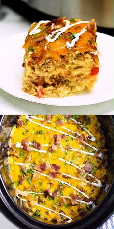 Overnight Crockpot Breakfast Casserole is a classic breakfast casserole with eggs sausage bacon hash browns and cheese. It's easy to make great for the holidays and feeding a crowd. Overnight Crockpot Breakfast, Overnight Breakfast Casserole, Breakfast Crockpot Recipes, Slow Cooker Breakfast, Breakfast Casserole Sausage, Breakfast Dishes, Brunch Recipes, Cooking Recipes, Crockpot Egg Bake