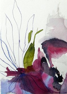 Original watercolor painting, abstract flower, fuchsia, olive green, purple, violet, organic, 5 x 7