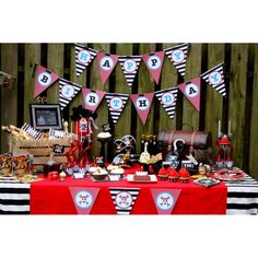 Pirate Birthday Party Printables Collection - Black, Red, Grey and Blue