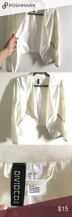 White Blazer Worn only once! Very comfy, no thick material ! In good condition! It's been in storage for a while :( H&M Jackets & Coats Blazers