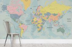 Pastel World Map Wallpaper Wall Mural | Murawall