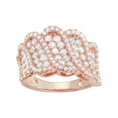 14k+Rose+Gold+Over+Silver+Cubic+Zirconia+Wave+Ring