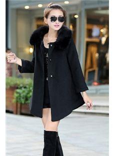 Asymmetrical Furry Collar Coat