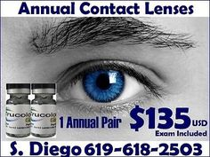 Myopia Annual Color Contact Lenses $135 USD Exam Included Call 619-618-2503 Optometrist  #Myopia, #Annual, #Color, #Contact, #Lenses, #Exam, #Included, #Call, #2503, #Optometrist