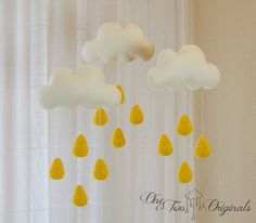 Brighten that special place your baby's room with this cute drops crochet mobile by One and Two Originals